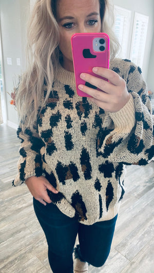 Spotted Two Tone Sweater