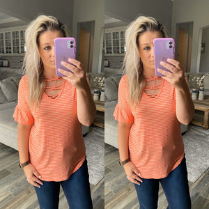 Striped Ruffle Sleeve Top - Coral