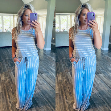 Nautical Striped Jumpsuit - H. Grey/Ivory