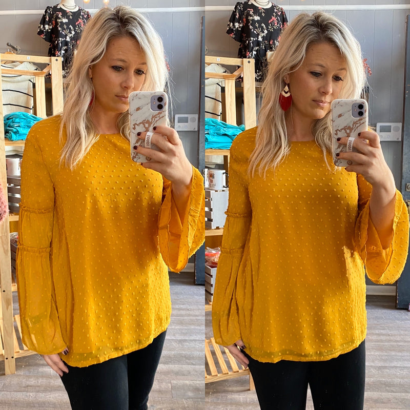 Swiss Dot Top - Mustard