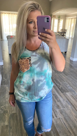 Sleeveless Tie Dye Pocket Top - Jade