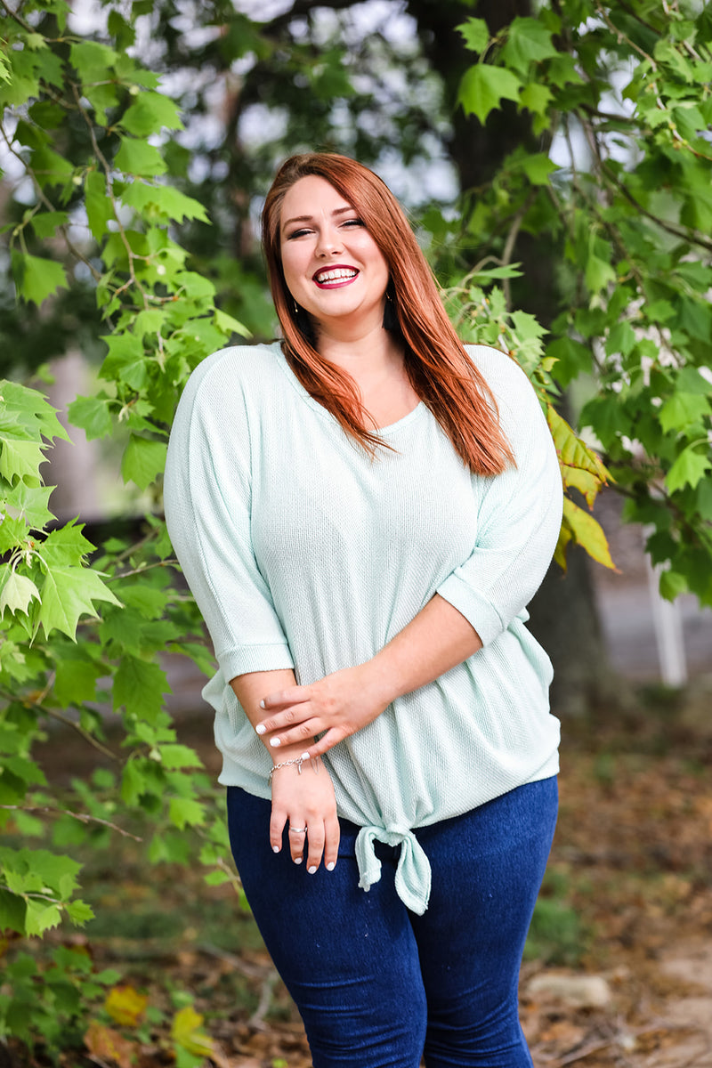 Dolman Knit Top (Plus Size) - Mint