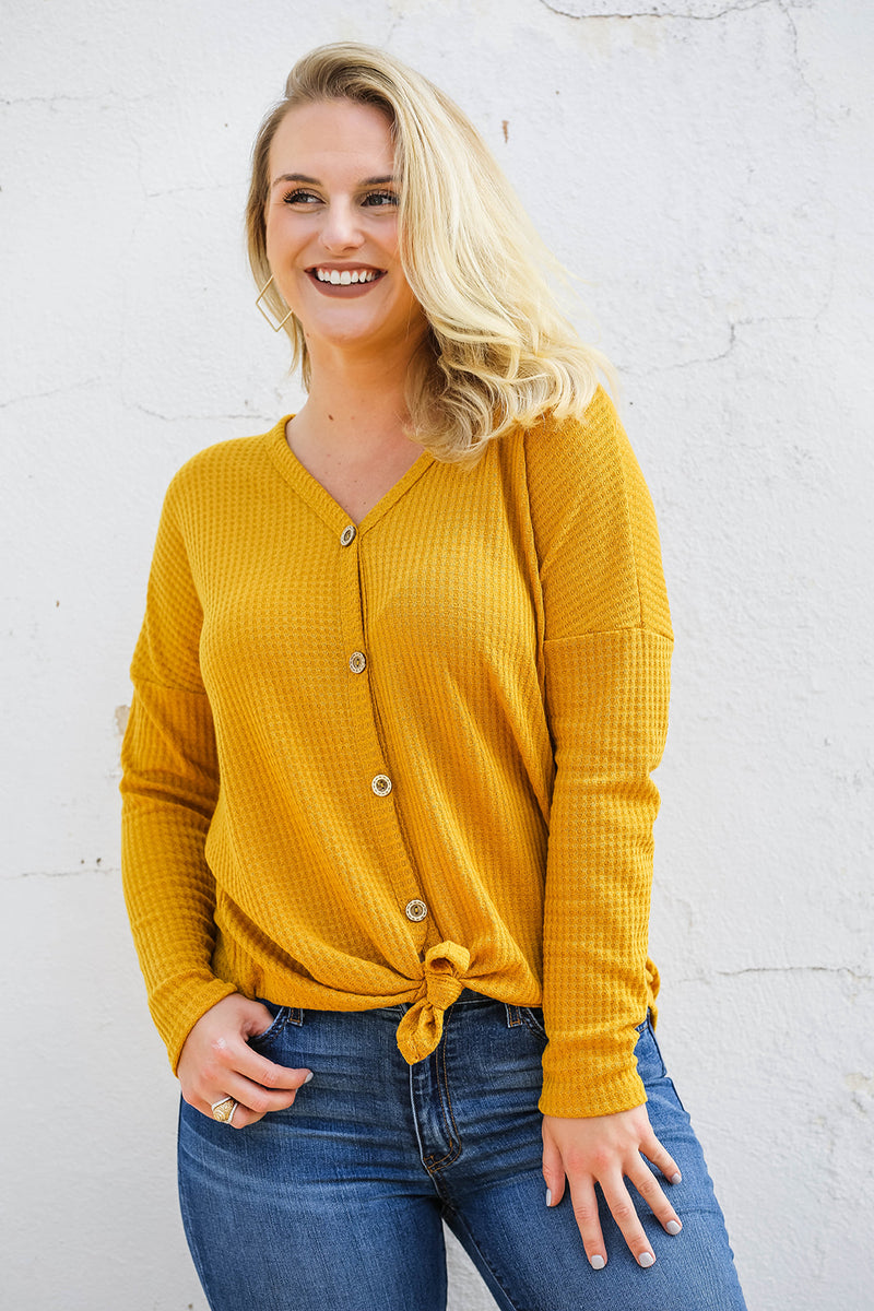 Thermal Button Down- Mustard