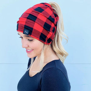 Peek-A-Boo Beanie- Red/Blk Buffalo Plaid