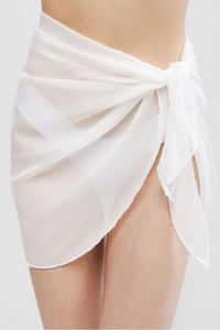 Sheer Skirt Cover Up White - Escape Swimwear