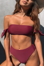 Load image into Gallery viewer, Rachel Set Wine - Escape Swimwear