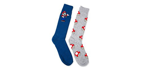 Nintendo Super Mario Men's and Big Boys 2 Pk Crew Socks