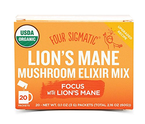 Four Sigmatic Lion's Mane Mushroom Elixir, USDA Organic, Focus, Vegan, Paleo, 20 Count, Packaging May Vary