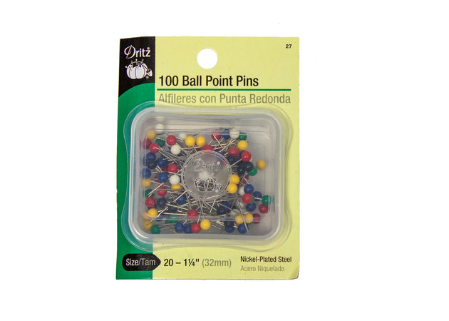 "Dritz Ball Point Pins Size 20 - 1 1/4"" - 100 Pieces - Humboldt Haberdashery"