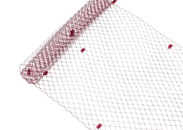 "Birdcage Veil Netting with Dots, 10"" Wide, Sold by the Yard - Humboldt Haberdashery"