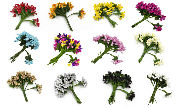 Flower Stamens for Artificial Flower Making Textured Mix - 12 Pieces - Humboldt Haberdashery