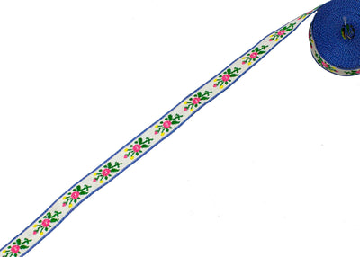 "Vintage Ribbon Trim White Floral Print 7/16"" - Sold by the Yard - Humboldt Haberdashery"