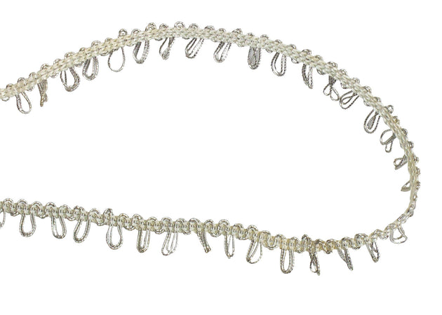Vintage Cord 1960's Metallic Silver Loop Gimp Trim, Sold by the Yard