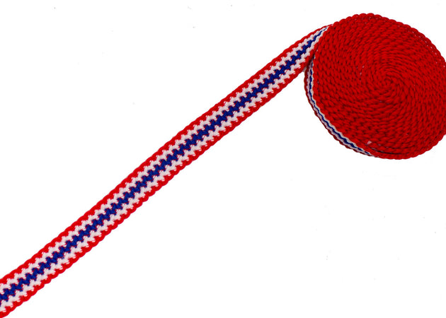 "Vintage Trim Red White Blue Knit 7/8"" - Sold by the Yard"