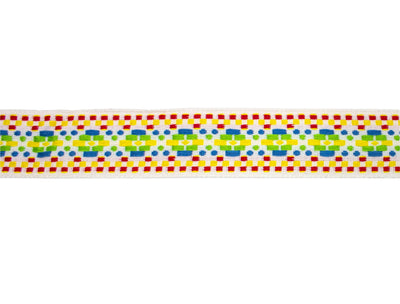 "Vintage Ribbon Trim Multicolor Woven Band Trim 1 5/8"" - Sold by the Yard"