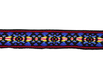 "Vintage Ribbon Trim Black with Primary Colors Woven Band Trim 1 1/8"" - Sold by the Yard"