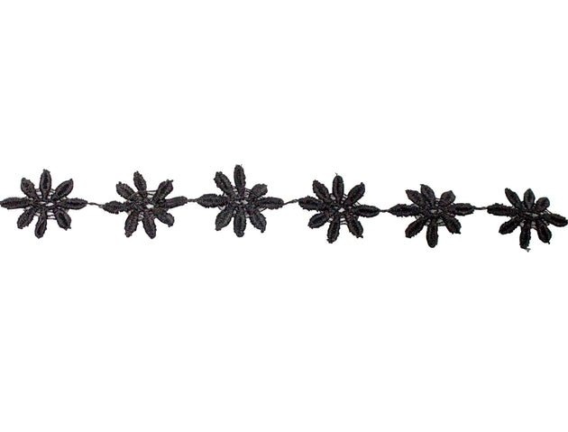 "Vintage Trim Black Daisy Floral Trim 7/8"" - Sold by the Yard - Humboldt Haberdashery"