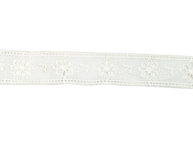"Vintage Trim Ivory Floral Eyelet Lace 7/8"" - Sold by the Yard"