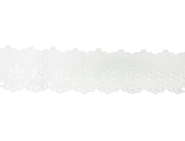 "Vintage Trim White Scalloped Floral Eyelet Lace 3"" - Sold by the Yard"