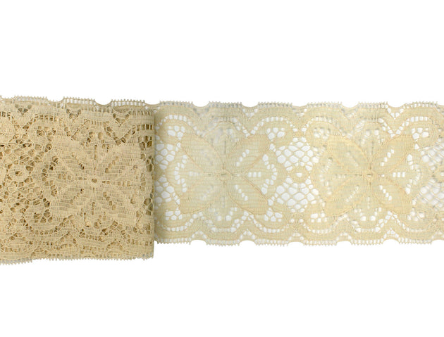 "Vintage Trim Beige Wide Floral Lace 4 1/2"" Wide - 2 Yards"