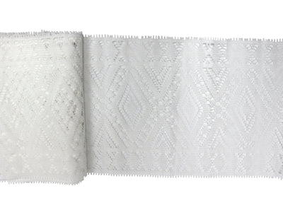 "Vintage Lace Trim White Wide Diamond Pattern 8"" Wide - Sold by the Yard"