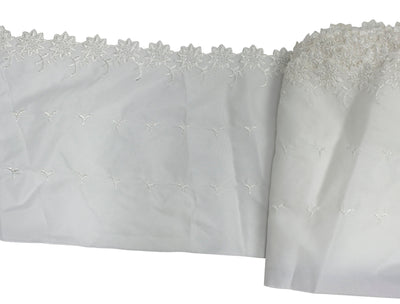 "Vintage Lace Trim White Wide Eyelet Nylon Fabric 7"" Wide - Sold by the Yard"