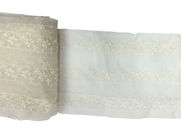 "Vintage Lace Trim Ivory Striped Eyelet 6"" Wide - Sold by the Yard"