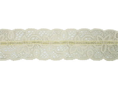 "Vintage Lace Trim Ivory Wired 2 1/2"" Wide - 4 1/2 Yards Long Piece"