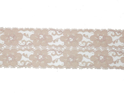 "Vintage Lace Trim Tan Floral 3"" Wide - Sold by the Yard"