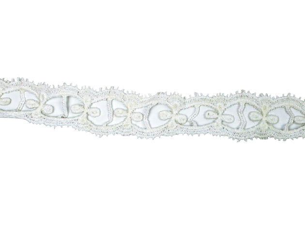 "Vintage Lace Trim White Open Crochet 1 1/4"" Wide - Sold by the Yard"