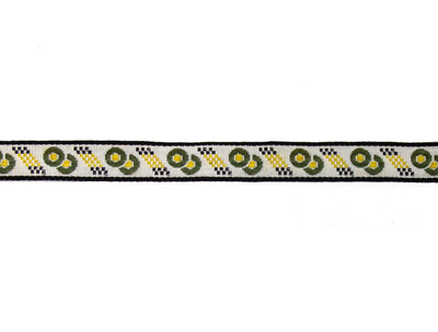 "Vintage Trim White with Olive, Black, Gold Embroidered Ribbon 1/2"" Wide - One Piece 4 Yards Long"