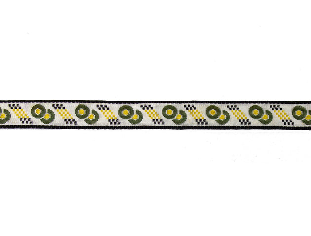 "Vintage Ribbon Trim White with Olive, Black, Gold Embroidered 1/2"" Wide - One Piece 4 Yards Long"