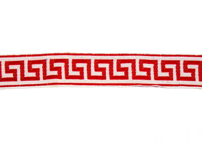 "Vintage Ribbon Trim White with Red Pattern 1 3/8"" Wide - One Piece 2 Yards 12 Inches Long"