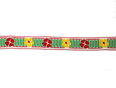 "Vintage Ribbon Trim White with Red, Green, Yellow Flower Embroidery 3/4"" Wide - One Piece 1.5 Yards"