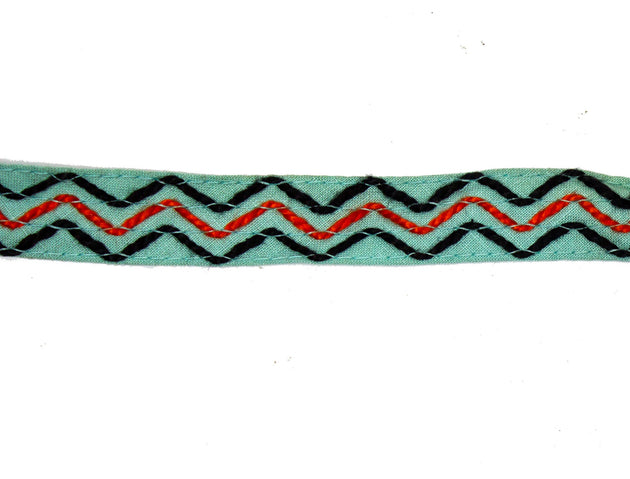 "Vintage Trim Aqua Blue Fabric with Black & Aqua Stitching 3/4"" Wide - One Piece 2 Yards Long"