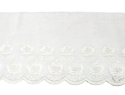 "Vintage Lace Trim White Embroidered Flowers Eyelet 4"" Wide - 4 1/2 Yard Piece"