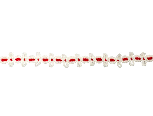 "Vintage Trim White Loops with Red Weave 5/8"" - Sold by the Yard"
