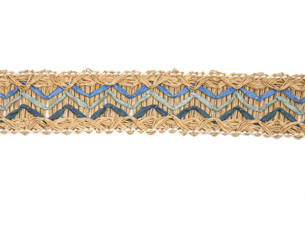 "Vintage Trim Woven and Embroidered Straw 1 1/2"" Wide - Sold by the Yard"