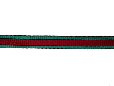 "Vintage Trim Red, Green and Black Edge Ribbon 7/8"" Wide - Sold by the Yard"