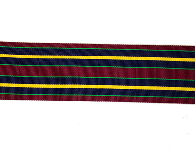 "Vintage Ribbon Maroon, Navy Blue, Gold Stripe Ribbon 2 1/4"" Wide - Sold by the Yard"