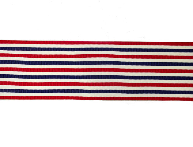 "Vintage Ribbon Trim Red, White, Blue Stripe 3"" Wide - Sold by the Yard"
