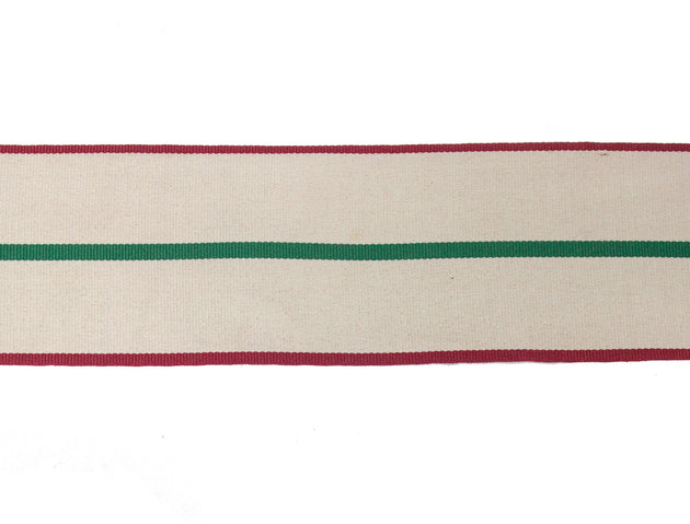 "Vintage Ribbon Ivory with Red and Green Stripe Ribbon 2 9/16"" Wide - Sold by the Yard"