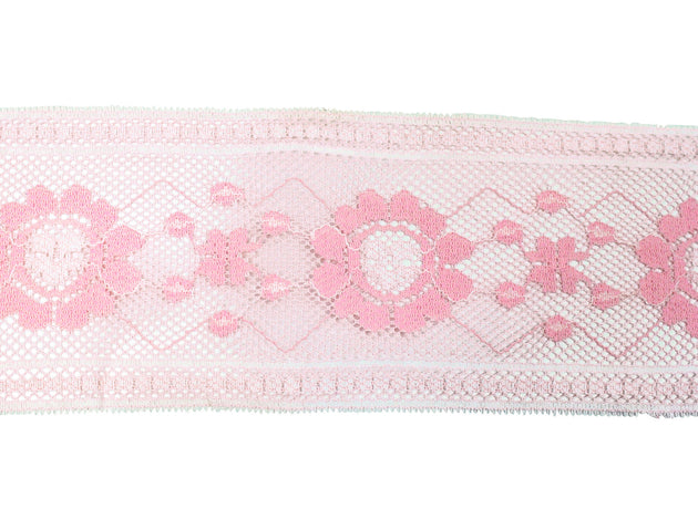 "Vintage Trim Pink Floral Lace with White Trim 3 3/4"" - Sold by the Yard"