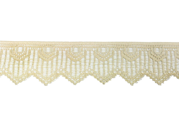 "Vintage Lace Trim Beige Art Deco Lace 1 3/4"" Wide - Sold by the Yard"