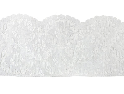 "Vintage Lace Trim White Scalloped Edge Floral 3 1/2"" - Sold by the Yard"