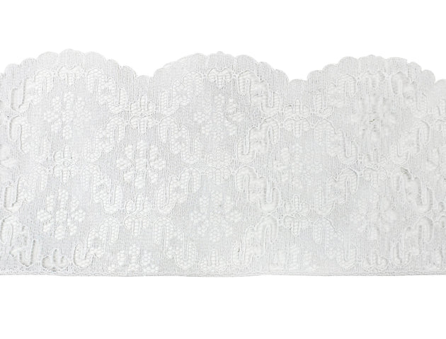 "Vintage Trim White Scalloped Edge Floral Lace 3 1/2"" - Sold by the Yard"