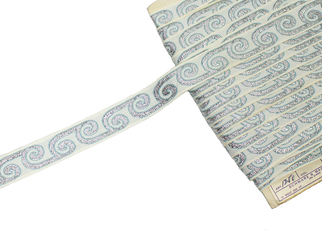 "Vintage Trim White with Silver and Blue Embroidery 1"" - Sold by the Yard"