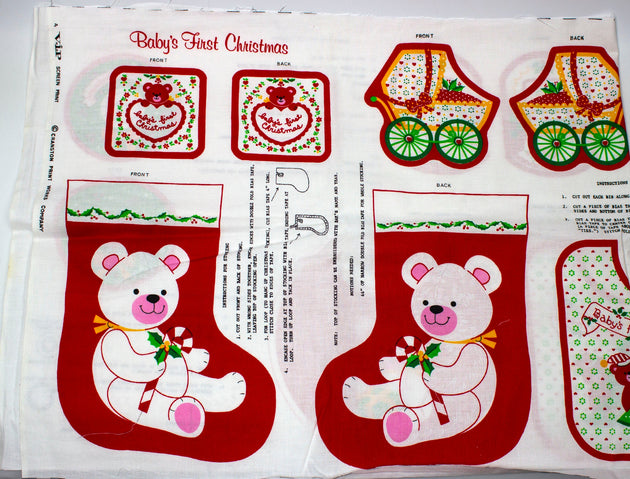 Vintage Cut N Sew Baby's First Christmas Ornaments, Bib, Stocking - Humboldt Haberdashery