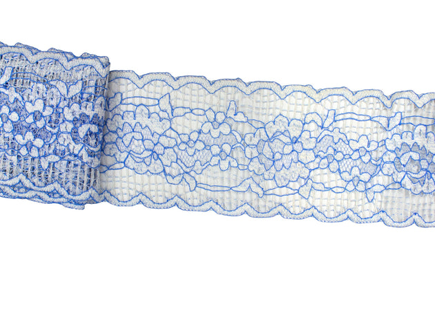 "Vintage Trim Blue & White Wide Floral Lace 3 3/4"" Wide - 3 1/2 Yards"