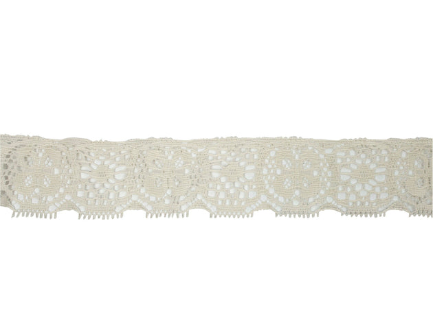 "Vintage Lace Trim Ivory Clover Floral 1 3/4"" Wide - Sold by the Yard"